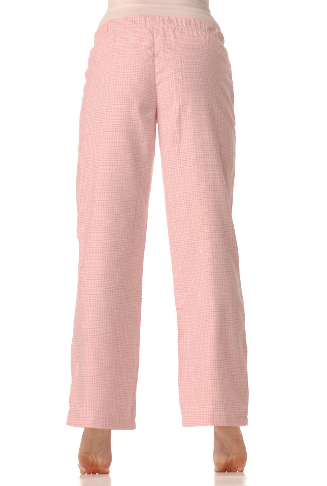 Flanelové pyžamové kalhoty - Růžová kostička